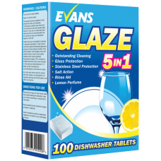 Evans Vanodine GLAZE all in one dishwasher tablets 120 tabs per box  soluble wrappers